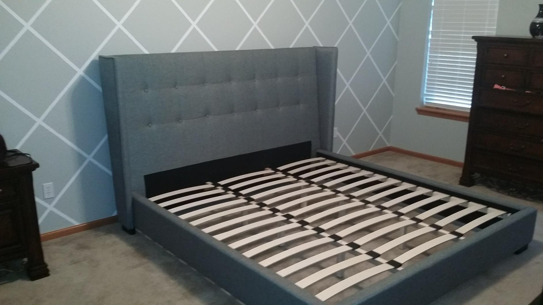 Baxton Studio Hirst Gray Platform Bed : Baxton studio bed king celine modern and