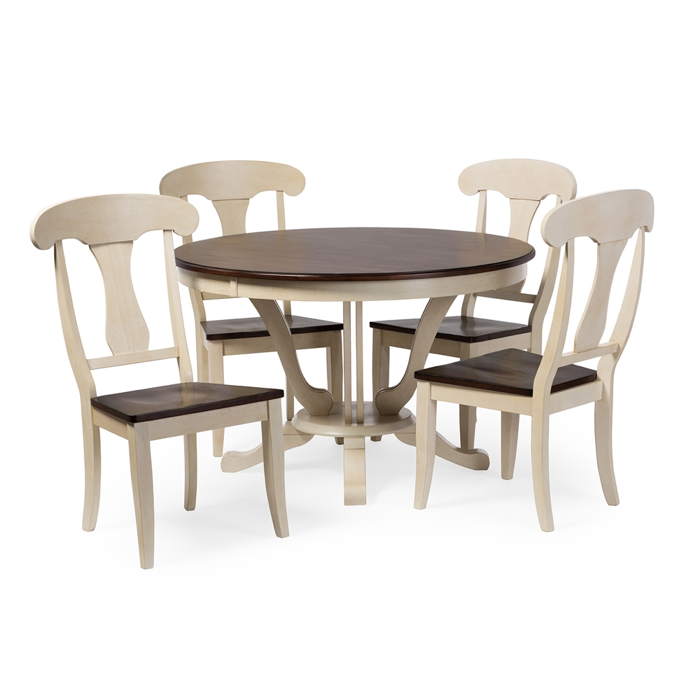 baxton studio napoleon chic country cottage 5 piece dining