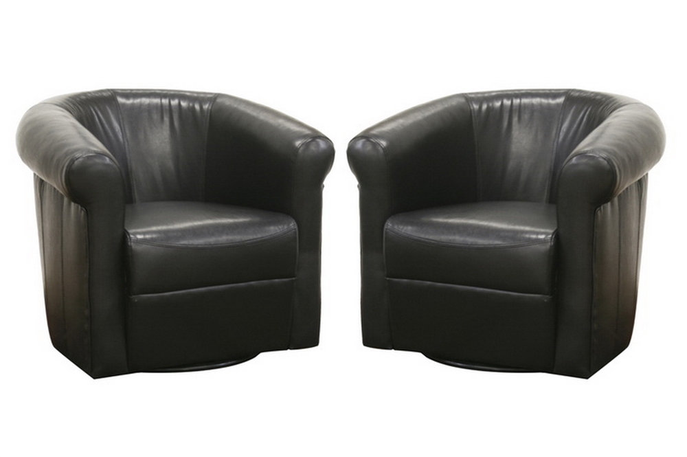 Baxton Studio Julian Faux Leather Club Chair With 360 Degree Swivel (set Of  2) Black/Brown