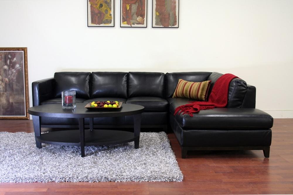 baxton studio rohn black leather modern sectional sofa