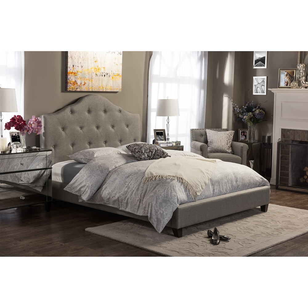 Baxton Studio Anica Scalloped Tufted Platform Bed See All Baxton