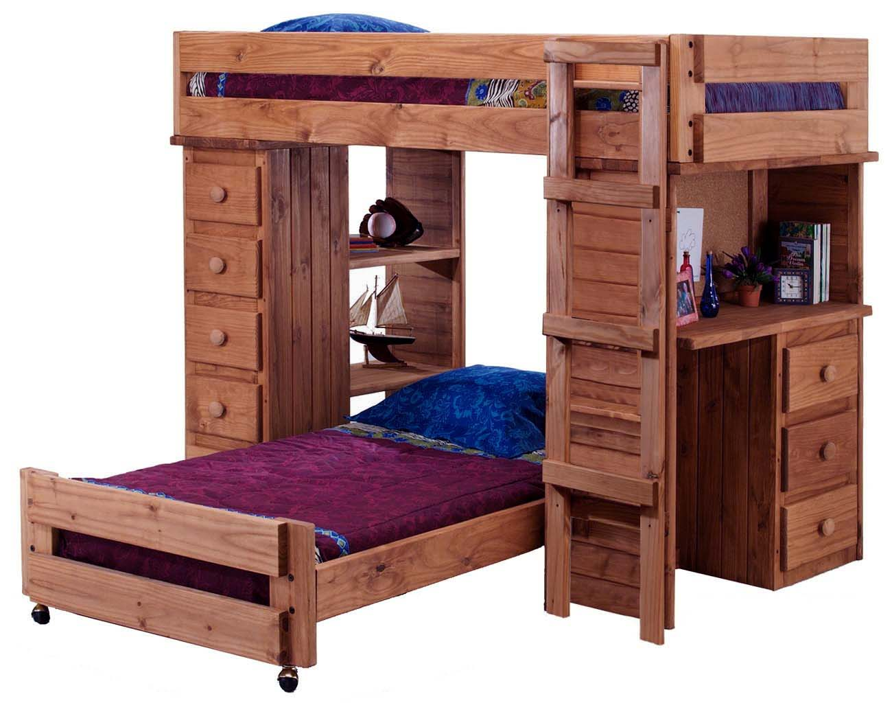 Superb img of Wooden Twin Over Twin Student Loft Bed with Desk Chest & Bookcase  with #1C2E6E color and 1300x1024 pixels