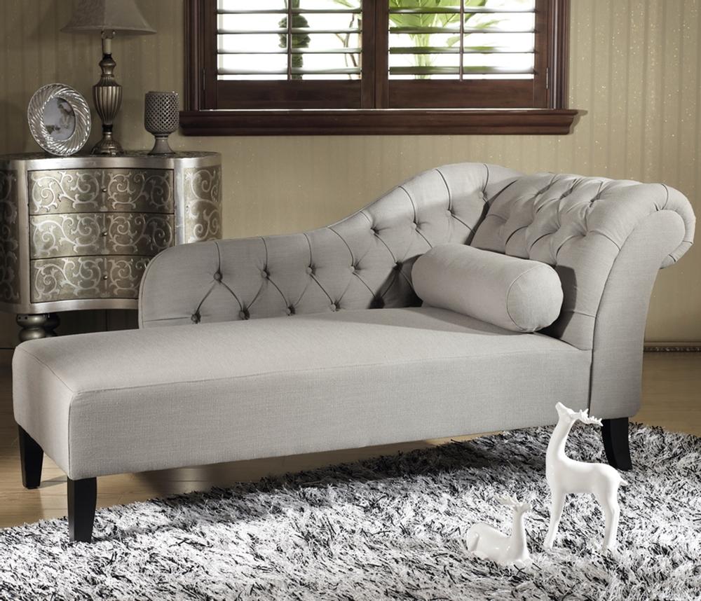 baxton studio aphrodite tufted putty modern chaise lounge  gray linen -