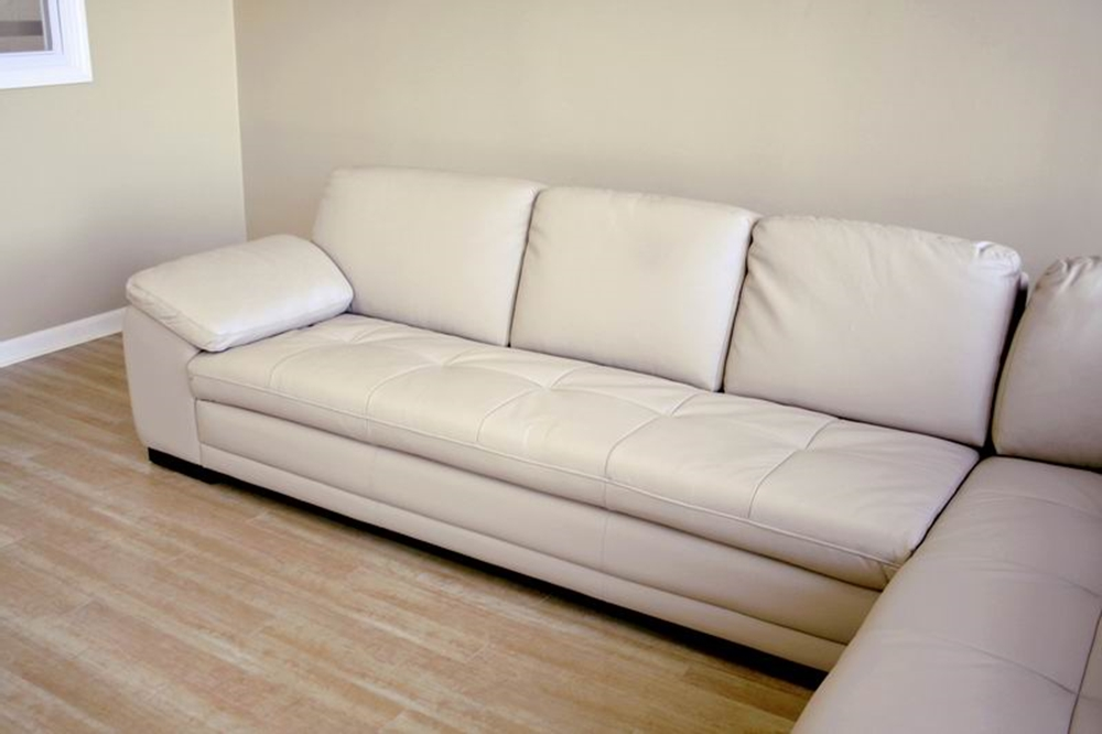 Baxton Studio Diana Sofa / Chaise Sectional : beige leather sectional - Sectionals, Sofas & Couches