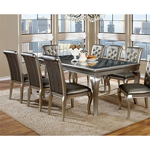 furniture of america amina silver dining room table