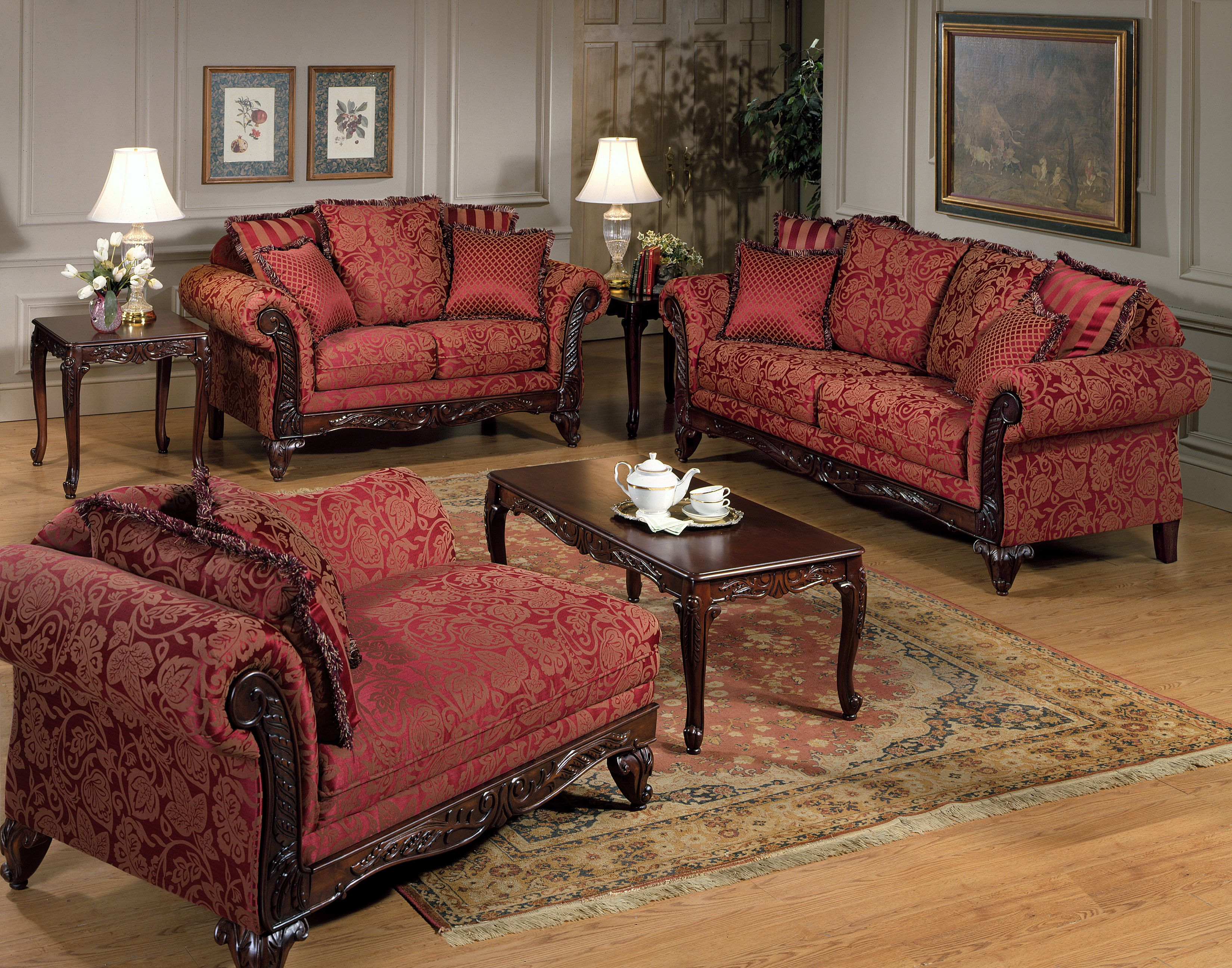 Living Room Furniture Made Usa serta kelsey victorian style sofa & love seat in clarissa carmel