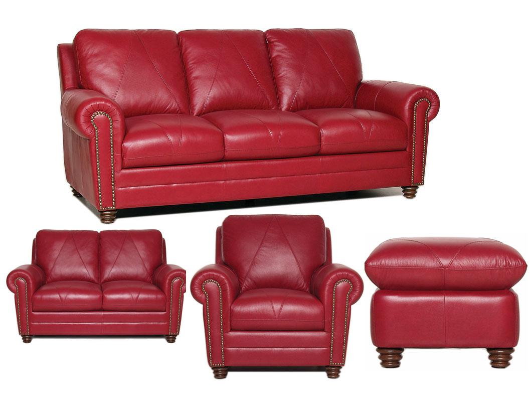 Luke Leather Weston 4 Piece Red Italian Leather Sofa Set