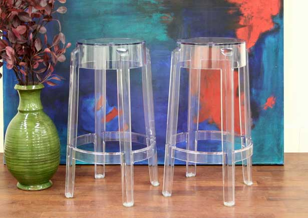 Counter Height Acrylic Stools : Bettino Clear Acrylic Counter Height Bar Stool - Set of 2 - PC-502B ...