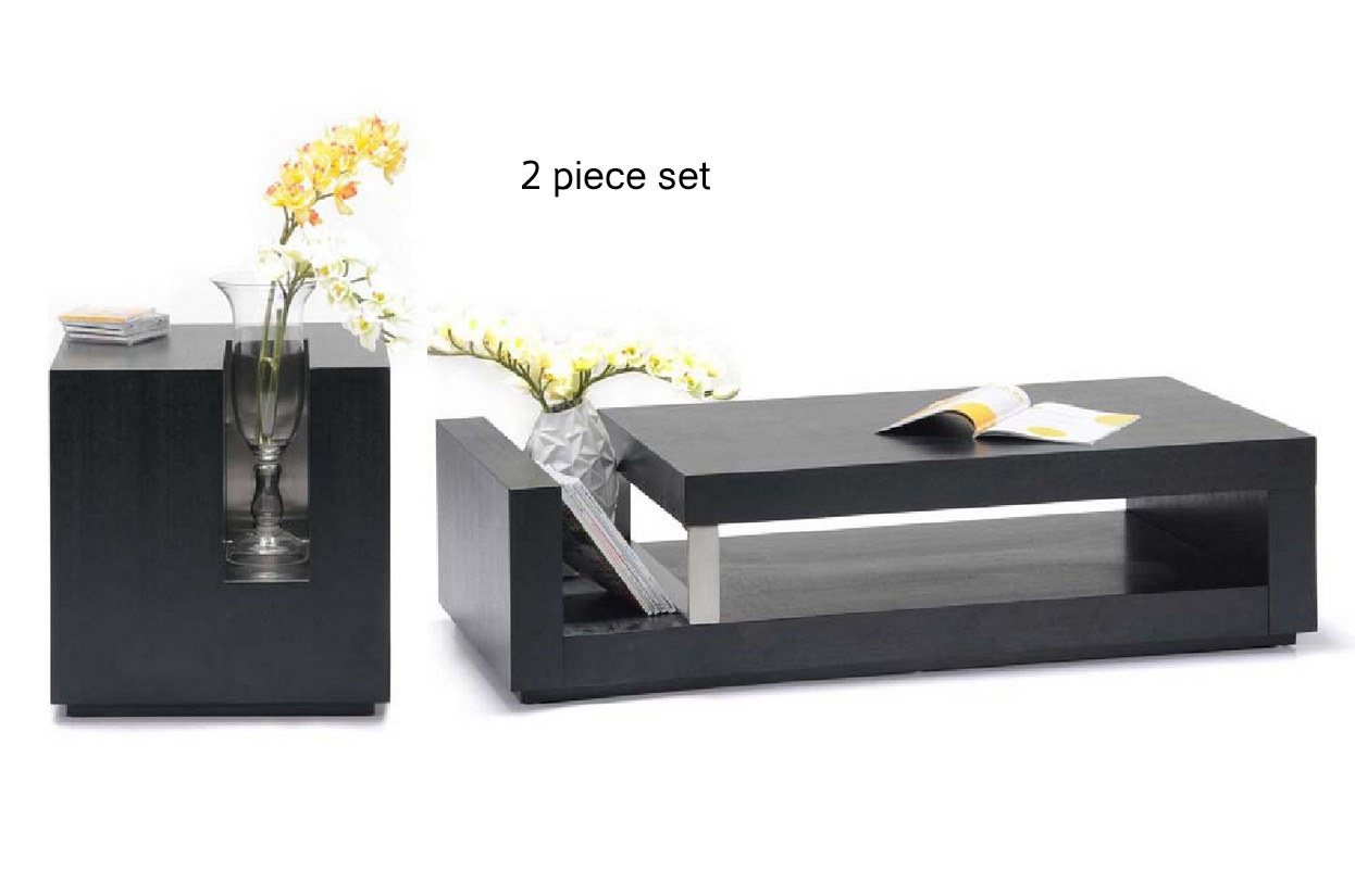 low profile coffee and end table set with magazine storage ct406