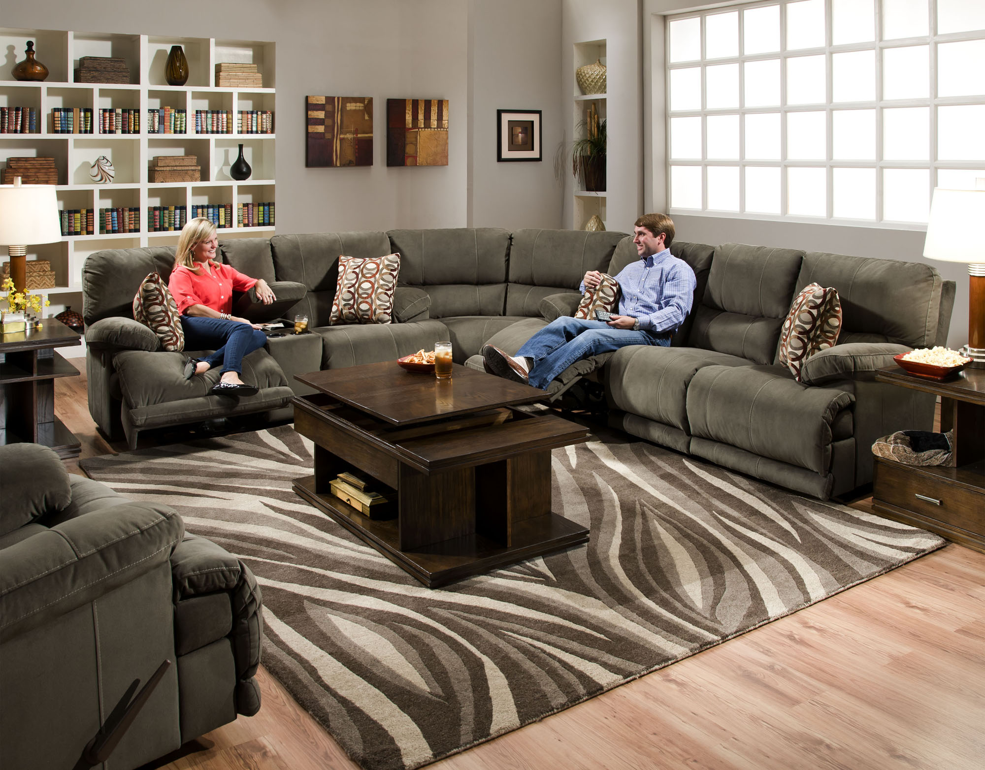 Catnapper Riley Reclining Sectional Sofa with Console Loveseat