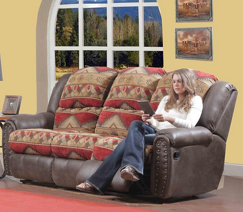 Yuma Rustic Lodge Reclining Sofa 153268 S Verona Sofas