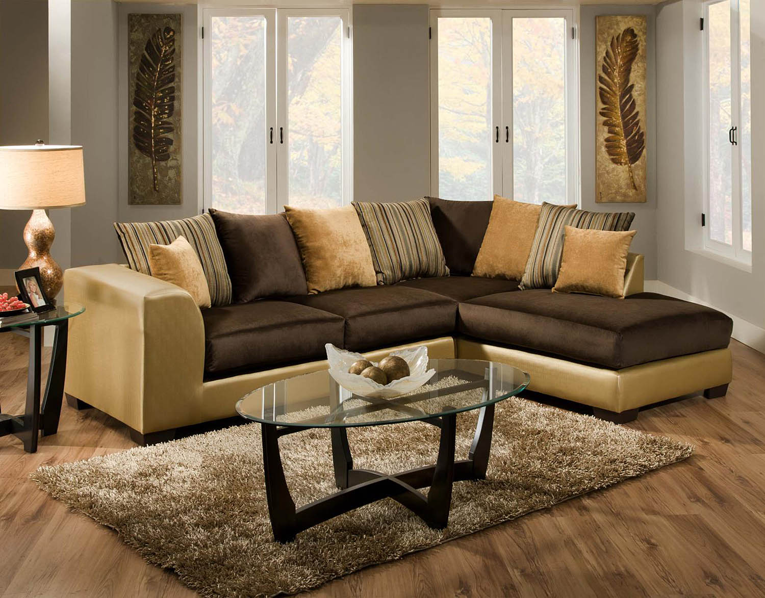 Chelsea Home Alpha 2 Pc Sofa Sectional With Chaise In Gold