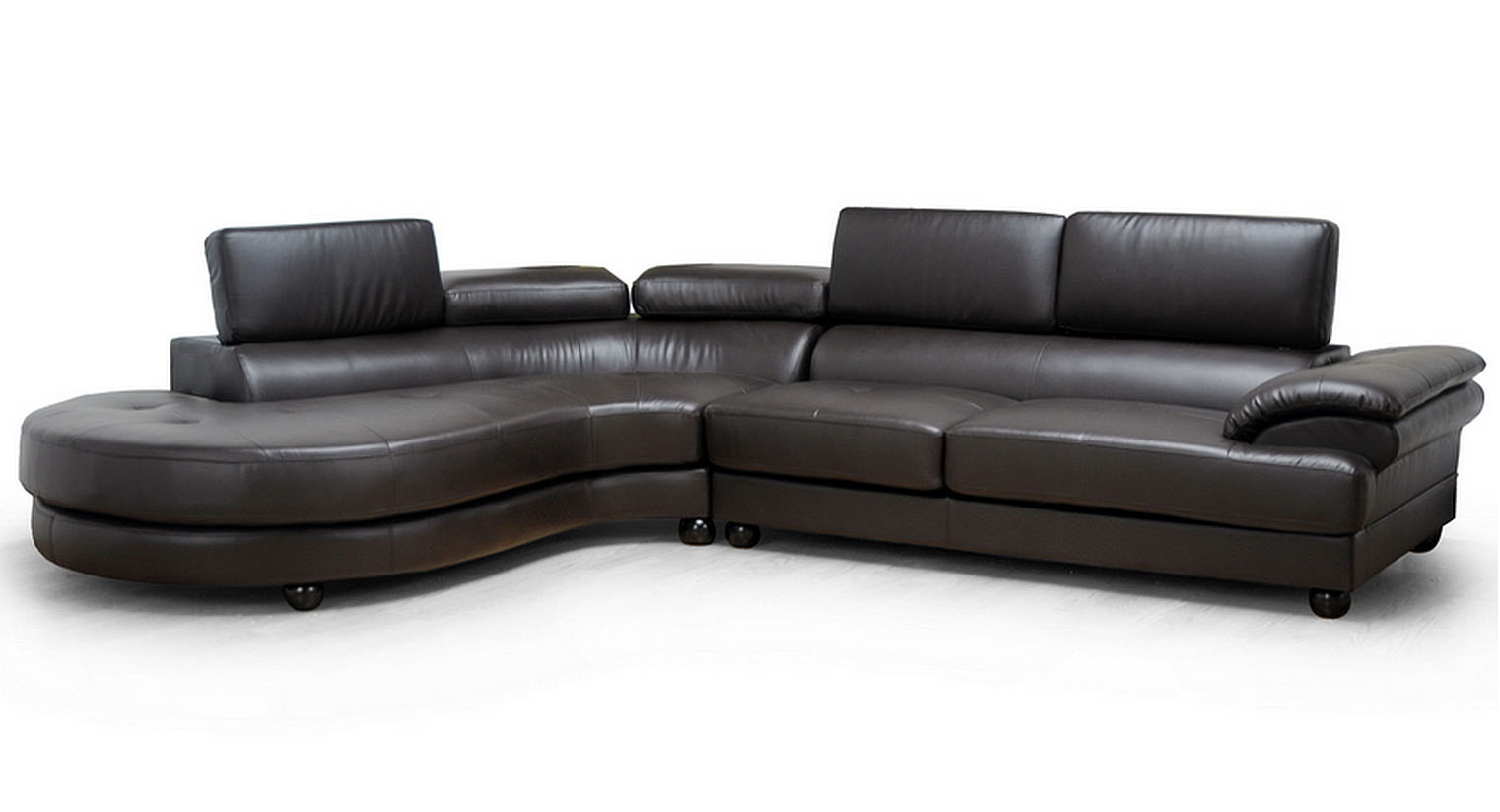 Adelaide Dark Brown Leather Sectional Sofa With Chaise By