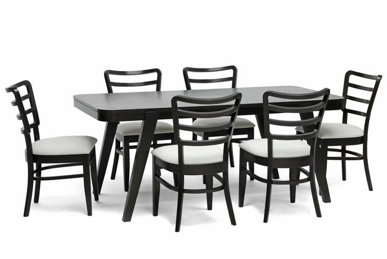 brown modern dining set by baxton studio dining room tables sets