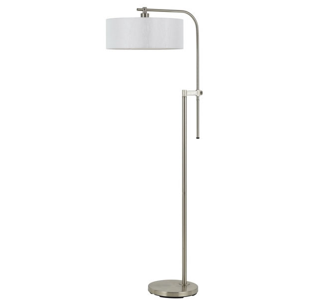 cal lighting 100 watt isabel metal floor lamp brushed steel finish bo. Black Bedroom Furniture Sets. Home Design Ideas