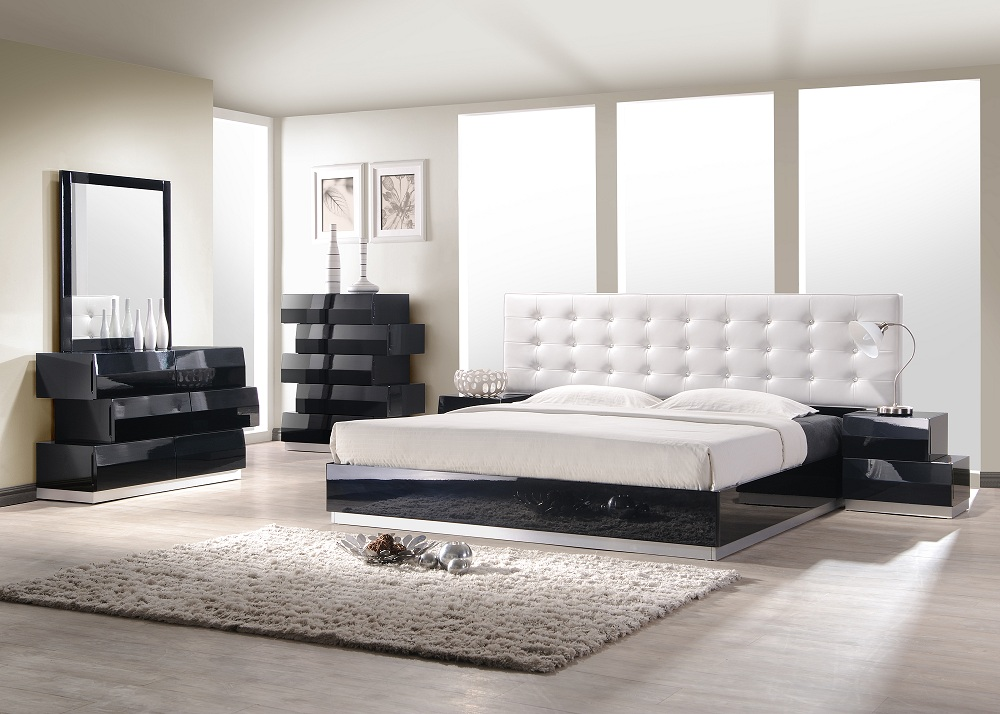 J M Furniture Milan Queen Size Platform Bed White 17687 Modern Bedroom Furniture