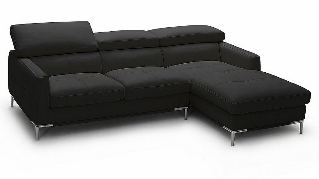 J M Modern Black Italian Leather Sofa Sectional W
