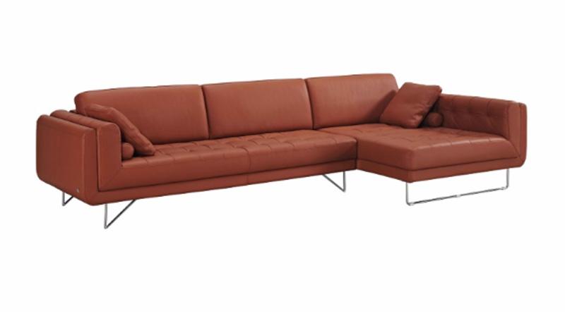 J M Modern Pumpkin Leather Sectional The Hampton Sofas